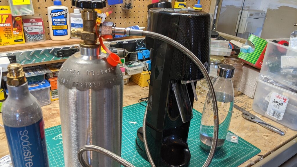 Testing the Soda Stream with an adapter hose and larger 5 lbs CO2 tank